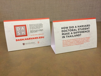 Table tents with DASH user stories on display